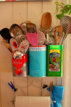 Repurposed tins for utensil storage...when one crock is not enough!