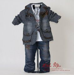 2014 Black Striped Kids Clothes Set For Boys 3Pcs: Suit and T Shirt and Jeans  New Autumn Clothing 100% Same Like Picture $52.25