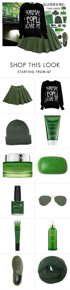"""Green//♡"" by alexismcclure647 ❤ liked on Polyvore featuring Balmain, Sunday Riley, Lancôme, Sisley, CND, Ray-Ban, 3ina, Tata Harper, Puma and John Lewis"