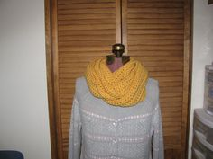 Warm winter Yellow infinity scarf on Etsy, $25.00