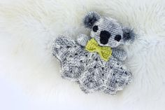 Make this crochet lovey pattern for your favorite little marsupial! The koala works up quickly using only one skein and some scrap yarn, which makes it a perfect baby shower gift idea. Instructions include a bow that can be used as a bowtie or a ear bow, making this crochet toy totally gender neutral. This PDF is perfect for printing or mobile viewing. The photos are grouped at the end of the pattern, so you can skip printing them to conserve ink if you'd like. You will receive a download…