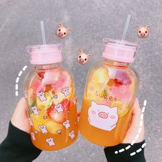 Kawaii Double Water Bottle ml.●Material: Plastic ●About Shipping: time: business days. time: business days to US, please allow weeks shipping to other country.(Shipping times can be affected by variable customs clearance times or public holidays. Cute Water Bottles, Glass Water Bottle, Drink Bottles, Food Storage Boxes, Eat This, Kawaii Room, Cute Cups, Cute Kitchen, Bubble Tea