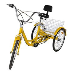 """Ridgeyard 24\"""" 6 Speed 3 Wheel Adult Cycling Pedal Tricycle Bicycle Trike Bike with Shopping Basket Yellow * Check this awesome product by going to the link at the image."""