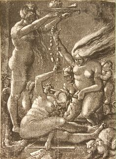Hans Baldung Grien. Four Naked Witches, a Baby and a Cat. From Witches, by Hans Baldung Grien (Strasbourg: 1514). Museum of Witchcraft, Cornwall, 1363. (Image: © 1998–2007 Museum of Witchcraft, Cornwall)