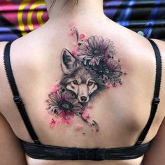 A floral wolf design by Dream Tattoos, Wolf Tattoos, Feather Tattoos, Wrist Tattoos, Girl Tattoos, Tatoos, Wolf Tattoo Design, Wolf Design, Tattoo Designs