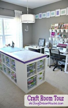 ideas sewing room organization ideas hacks cutting tables sew einfach clothes crafts for beginners ideas projects room Sewing Room Design, Craft Room Design, My Sewing Room, Sewing Studio, Sewing Spaces, Ikea Sewing Rooms, Design Desk, Craft Space, Library Design