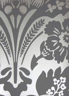 Wilton Wallpaper A block print style damask wallpaper in gilver on amethyst.