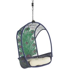 Pier 1 Imports Swingasan Peacock Hanging Chair ($290) via Polyvore featuring home, outdoors, patio furniture, hammocks & swings, pier 1 imports and iron holder