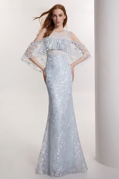 Prom/Evening dress light blue lace