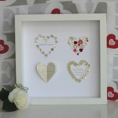 Are you interested in our Personalised Ruby Anniversary Four Hearts? With our red heart Anniversary Picture Art you need look no further. Diamond Wedding Anniversary Gifts, 40th Wedding Anniversary, Anniversary Jewelry, Pearl Anniversary, Anniversary Ideas, Mother Of Pearl Buttons, Heart Pictures, Box Frames, Box Art