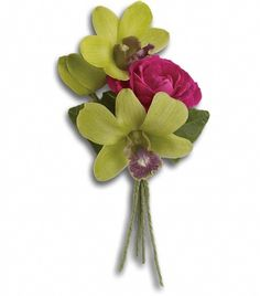 Green Dendrobium Orchids& Hot Pink Spray Rose