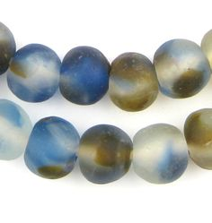 Blue Brown Swirl Recycled Glass Beads (18mm)