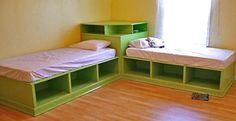 Twin Corner Beds With Storage   DIY Cozy Home