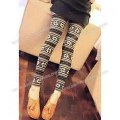 $4.37 Fashionable Elastic Black and White Snowflake Pattern Leggings For Women