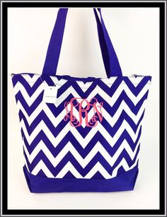 Custom Monogrammed Personalize Oversize Large Canvas Tote Bag w change purse Shopping Diaper Dance Beach Gym Chevron Bag Navy on Etsy, $9.99   hot pink bag with dark blue 'R'