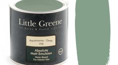 Little Greene Absolute Matt Emulsion in Aquamarine Deep is a beautiful colour which will make a timeless addition to any home. Little Greene Paint, Deep Space, Painted Paper, New Tricks, Candle Jars, Paint Colors, Dark, Painting