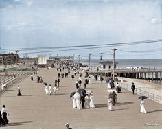 The Jersey Shore circa 1905 Boardwalk at Asbury Park Colorized History, Colorized Photos, Photo Touch Up, Asbury Park Boardwalk, Historical Pictures, Color Of Life, Old Pictures, American History, The Past