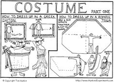 easy to follow instructions for wrapping a Greek Chiton and a Roman Toga by Hunkin's Experiments