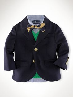 Infant boys Wool Brass-Button Blazer from Ralph Lauren. I puked over the cuteness. Toddler Boy Fashion, Little Boy Fashion, Toddler Boys, Kids Boys, Baby Kids, Kids Fashion, Infant Boys, Boys Wear, Cute Baby Clothes