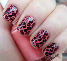 Konad Coral Leopard Nails