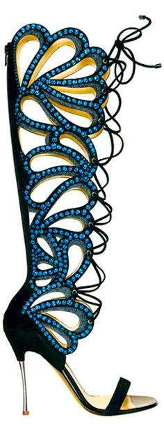 Nicholas Kirkwood jewelled blue and black tall gladiator sandals