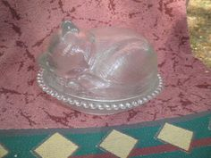 Indiana Glass Sleeping Kitty Cat in Basket Covered Candy Dish c1970s #IndianaGlass