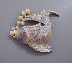 Fish blue enameled brooch
