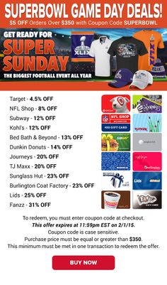 Superbowl Game Day Deals: Target 4.5% OFF, Subway 12% OFF, TJ Maxx 20% OFF & More