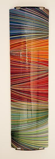 5 foot Fused Glass Wall Sculpture, created by Renato Foti, can be lit via LED strip -  found thru Artful Home -