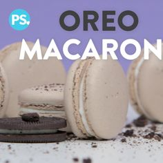 Your favorite cookie just got even better! We've taken our beloved Oreo and turned it into a luxurious, light, and creamy French macaron you're going to want Oreo Dessert Recipes, Fun Desserts, Macron Recipe, Oreo Recipe, Macarons Easy, Oreo Macarons, Vanilla Macaron Recipes, Macaron Wallpaper, Cake Decorating Frosting