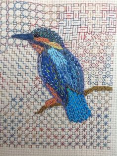 Kingfisher,handstitched.Counted thread background using dyed thread
