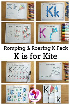 Free Romping & Roaring K Pack Letter Pack: K is for Kite - a letter k pack that has prewriting, finding letters, tracing letters, coloring pages, shapes, puzzles and more - 3Dinosaurs.com #letterpack #letterk #3dinosaurs #freeprintable #abcs #alphabet Kindergarten Learning, Learning To Write, Kids Learning, Work On Writing, Pre Writing, Spring Activities, Hands On Activities, Free Preschool, Preschool Activities