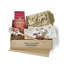 Williams-Sonoma 'Twas the Night Before Christmas Holiday Baking Gift... ($90) ❤ liked on Polyvore featuring home, kitchen & dining, bakeware, nonstick bakeware, christmas bakeware and bread loaf pan