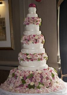8 Tier Wedding Cake with Fresh Flowers by Diva Designer Cakes, via Flickr
