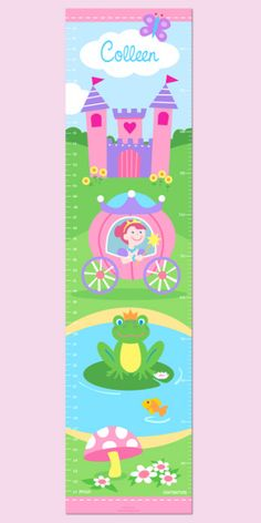 Personalized Wall Decal Growth Chart  Princess  -This personalized growth chart is fit for a princess! It features a your child's name with a princess riding in her coach, an enchanted castle and even a frog prince! $39.99