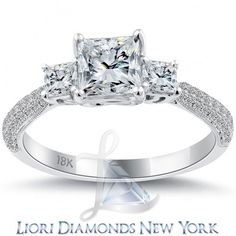1.71 Carat F-SI1 Three Stone Princess Cut Diamond Engagement Ring 18k White Gold - Liori Exclusive Engagement Rings - Engagement - Lioridiamonds.com