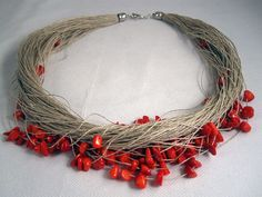 Necklace red coral multiple linen thread knots coral by espurna88