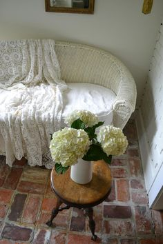 Cottage Fix - white hydrangea blooms