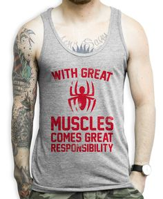 40e09113c85891 With Great Muscles Comes Great Responsibility on a Unisex Athletic Grey Tank  Top. Mens Workout ...