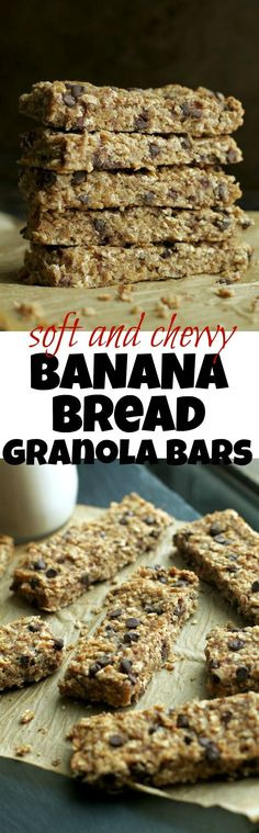 So much better than store-bought! These Soft and Chewy Banana Bread Granola Bars are made without any refined sugars or oils, and LOADED with chocolate and banana flavour! | runningwithspoons... #vegan #glutenfree #healthy #snack