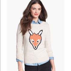 Only Mine cute FOX cashmere blend sweater XS Size XS. So cute and soft. Wool/cashmere blend. Some slight overall pilling but in otherwise cery good condition.See my closet for more great deals on designer listings. Adding new spring items this week. 15% off a bundle of 3 or more items. Only Mine Sweaters Crew & Scoop Necks