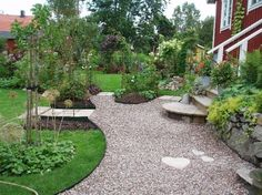 Beautiful curved borders between gravel and grass! Garden Borders, Garden Paths, Garden Beds, Courtyard Landscaping, Front Courtyard, Garden Cottage, Backyard, Patio, Dream Garden