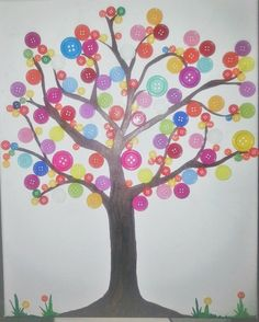 Button Art Tree Canvas Painted Panel art Baby by LotOfButtons Baby Nursery Art, Baby Art, Button Art, Button Crafts, Painting For Kids, Art For Kids, Painting Canvas, Button Tree Canvas, Mini Canvas Art