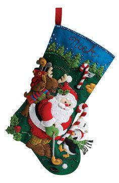 @Kathy Datko DeCosse....for Perry? Bucilla Christmas Stocking Kit Golfing Santa Thumb