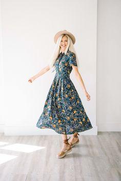 teal floral midi dress