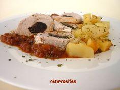 Solomillo de cerdo relleno, con patatas y salsa (Varoma) PROBADO Y MUY BUENO.