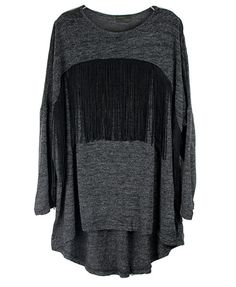 Gray Batwing T-shirt with Black Fringes
