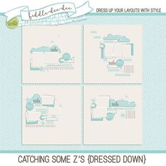 Catching Some Z's {Dressed Down} templates feature word art and other special touches to help you document nap times, snuggling photos, and any and all sleepy time photos!  	This personal use/S4H template set includes four (4) layered 12x12 templates in both .psd and .tif files...