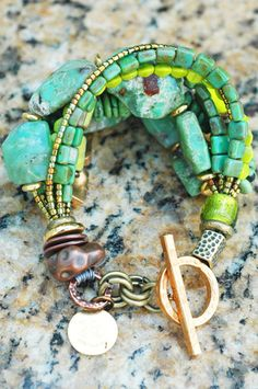 Stunning Green Amazonite, Turquoise, Chartreuse Glass and Gold Bracelet