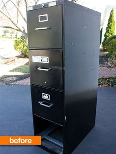 Before & After: Less Than Fabulous Filing Cabinet Turned Garage Super Storage Trash to Treasure